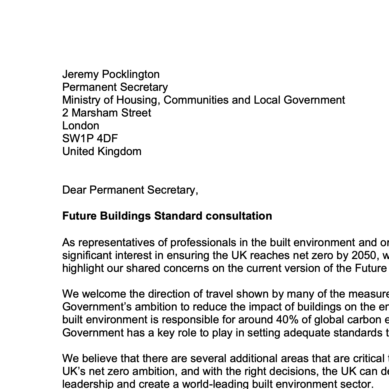 Future Buildings Standard and letter to MHCLG
